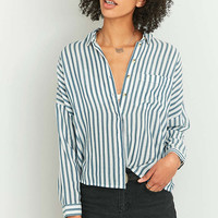 Urban Outfitters Blue Twill Striped Button-Down Shirt - Urban Outfitters