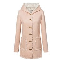 Fashion 2016 Trending Fashion Leather Women Button Hooded Hoodie  Sweater Cardigan Coat Jacket Outerwear _ 9855