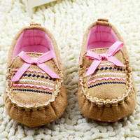 Fashion Baby Girls Sneakers Newborn Infant Loafers Brown with Pink Butterfly Knot Solid Slip-on Flats Shoes