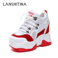 2018 New Women Platform Casual Shoes Mesh Breathable Wedge Heels Shoes 10CM Autumn Thick Sole Sneakers Woman Deportivas Mujer