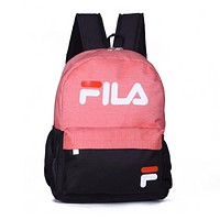 FILA Fashion New Letter Print Women Men Leisure Backpack Bag Pink