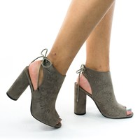 Naza Taupe Gray Rear Tie Block Heel Bootie w Floral Embroidery. Peep Toe Open Heel