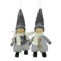 """Set of 2  White and Gray Boy and Girl Decorative Hanging Christmas Ornaments 5.5"""""""