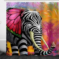 3D Printed Strapped Elephant Shower Curtain Home Decor Waterproof Polyester Bathroom Door Curtain Shower Shelter 180*180cm