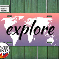Explore World Map Quote Purple Ombre Tumblr Inspired Cute Travel Accessory For Front License Plate Car Tag One Size Fits All Vehicle Custom