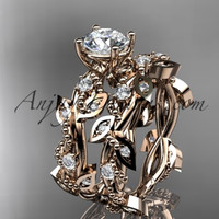 "14k rose gold diamond leaf and vine wedding ring, engagement set with ""Forever One"" Moissanite center stone ADLR59S"