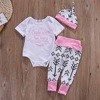 Cute Newborn Baby Boy Girls First Christmas Clothes Romper Pants Hat Outfit
