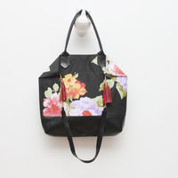 EVERYDAY 14/Convertible floral satin & black patent leather tote - Ready to Ship