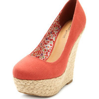 Charlotte Russe - Canvas Jute-Trimmed Wedge