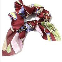 Chain Print Scrunchie Bow
