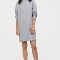 Short Sweatshirt Dress - Light gray melange - | H&M US