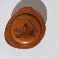 Japanese Carved Wooden Bowl with Lid