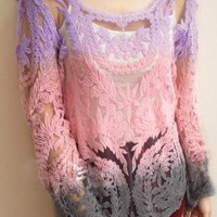 Sexy Hollow Out  Gradient Crochet Blouse