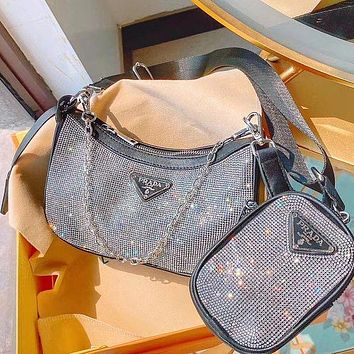 PRADA full diamond new chain Hobo shoulder bag messenger bag two piece set