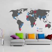 World maps vinyl decal - World Map decal with pins for housewares
