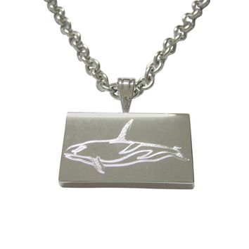 Silver Toned Etched Killer Whale Orca Pendant Necklace