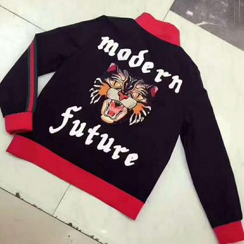 GUCCI modern future letters Tiger embroidery black red Jacket cardigan sweater H-AGG-CZDL