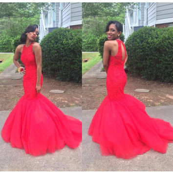 Red Mermaid Lace and Tulle Evening Dresses Prom Gowns pst0147