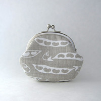 Frame Coin Purse - sweet pea on organic natural linen