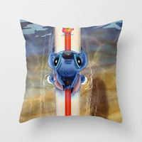 Waiting for the perfect wave...Stitch..^^ Throw Pillow by Emiliano Morciano (Ateyo) | Society6