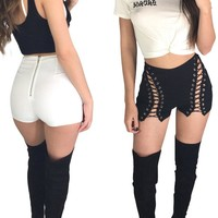Sexy summer women  ripped short jeans high waisted  elastic  bandage shorts