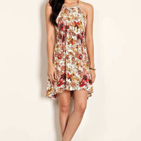 Delicate Daisy Floral Mix Peasant Summer Dress - Ivory