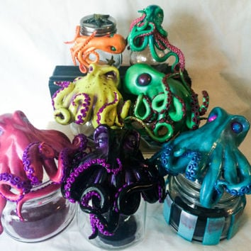 Custom Made Cephalopod Octopus Stash Jar or Keepsake Jar
