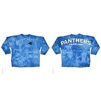 Carolina Panthers Logo Tie Dye Sweeper Long Sleeve Oversized Top Shirt Jersey