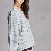 Purl Knit Hooded Sweater