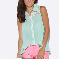 Mint green neon lace trimmed chiffon blouse tank