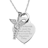 A Nurse's Prayer Sterling Silver Heart Necklace Personalised/Engraved