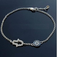 BEADY LUCKY HAMSA BRACELET w/ BLUE CRYSTAL EYE - Silver Plated with Crystals