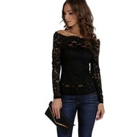 Black Cover Me In Lace Top