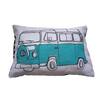 Campervan Illustration Cushion in Blue Large by helenacarrington