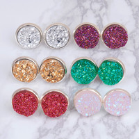 DoreenBeads Handmade Druzy /Drusy Resin Dome Seals Cabochon Round Earrings Fashion Trendy Woman Jewelry 16x14mm 1Pair