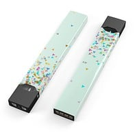 Colorful Falling Triangles Over Mint - Premium Decal Protective Skin-Wrap Sticker compatible with the Juul Labs vaping device