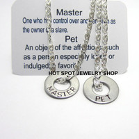 Master Pet Necklaces, BDSM, His and Her Jewelry, Fetish Wear, Dominant Submissive Jewelry, Hand Stamped Washer Necklaces