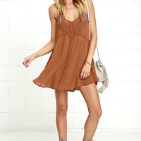 Amuse Society Vienna Brown Embroidered Shift Dress