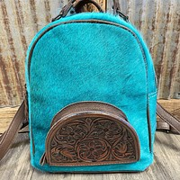 Small Turquoise Cowhide Tooled Leather Backpack