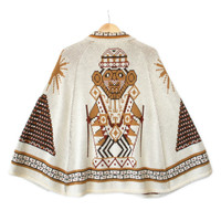 Vintage 70s Tribal Aztec Ugly Sweater Poncho