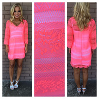 Lace Cover Up Dress - NEON PINK