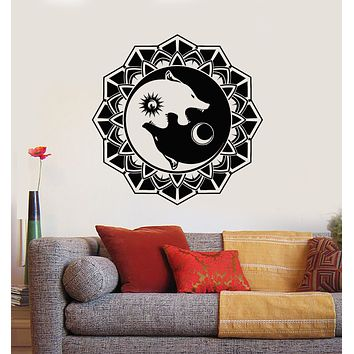 Vinyl Wall Decal Circle Day Night Couple Wolfs Ornament Stickers Mural (g3471)