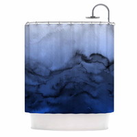 "Ebi Emporium ""Winter Waves 3"" Blue Black Shower Curtain"