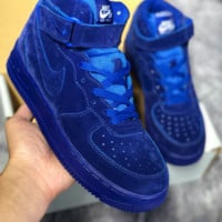 DCCK N460 Nike Air Force 1 AF1 LV8 LTR High Suede Fashion Casual Skate Shoes Blue