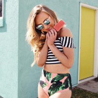 Fashion Stripe Vest Crop Tops Flower Print High Waist Triangle Bikini Set Swimsuit Swimwear