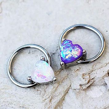 316L Stainless WildKlass Steel Synthetic Opal Heart Snap-in Captive Bead Ring/Septum Ring