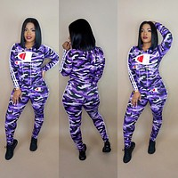 Champion Fashion Women Casual Purple Camouflage Print Long Sleeve Top Trousers Suit Two-Piece Sportswear