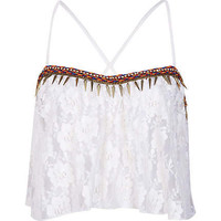 Cream lace embellished trim crop top