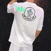 Moncler Summer Popular Men Women Personality 3M Reflective Logo Print T-Shirt Top White