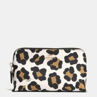 SMALL COSMETIC CASE IN OCELOT PRINT LEATHER